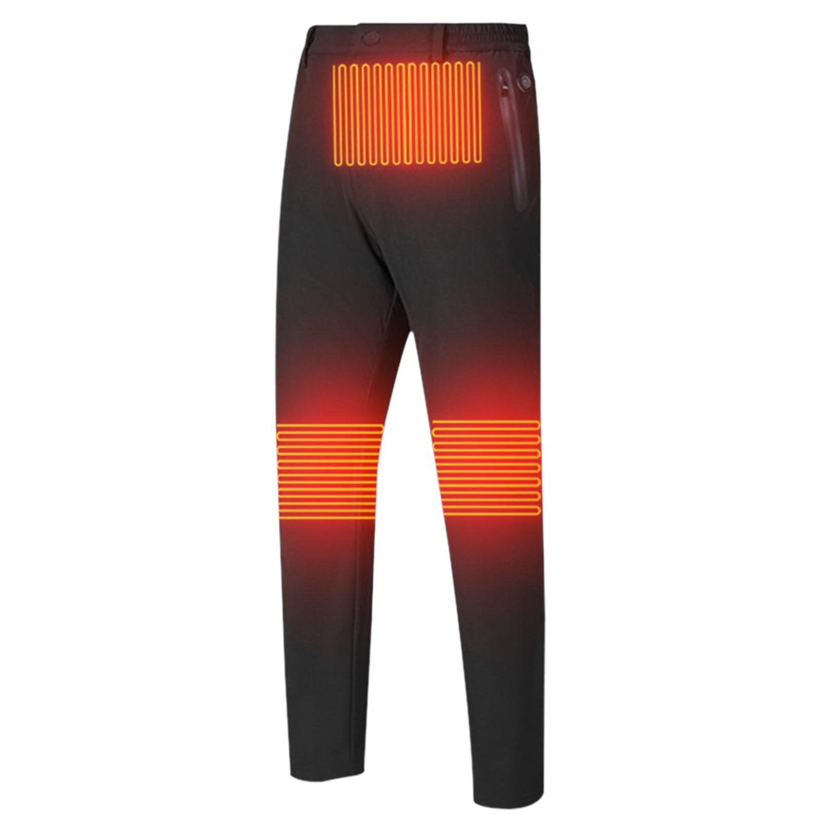 Men Women Outdoor Hiking Warm Washable Elastic Waist Heated Pants Nylon USB Electric Windproof Fishing Waterproof Solid Winter