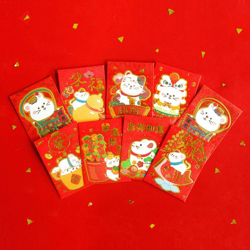 6Pcs/Pack Kawaii Animal Little Mouse Red Envelope To Fill In Money Chinese Tradition Hongbao Gifts Stationery Envelope
