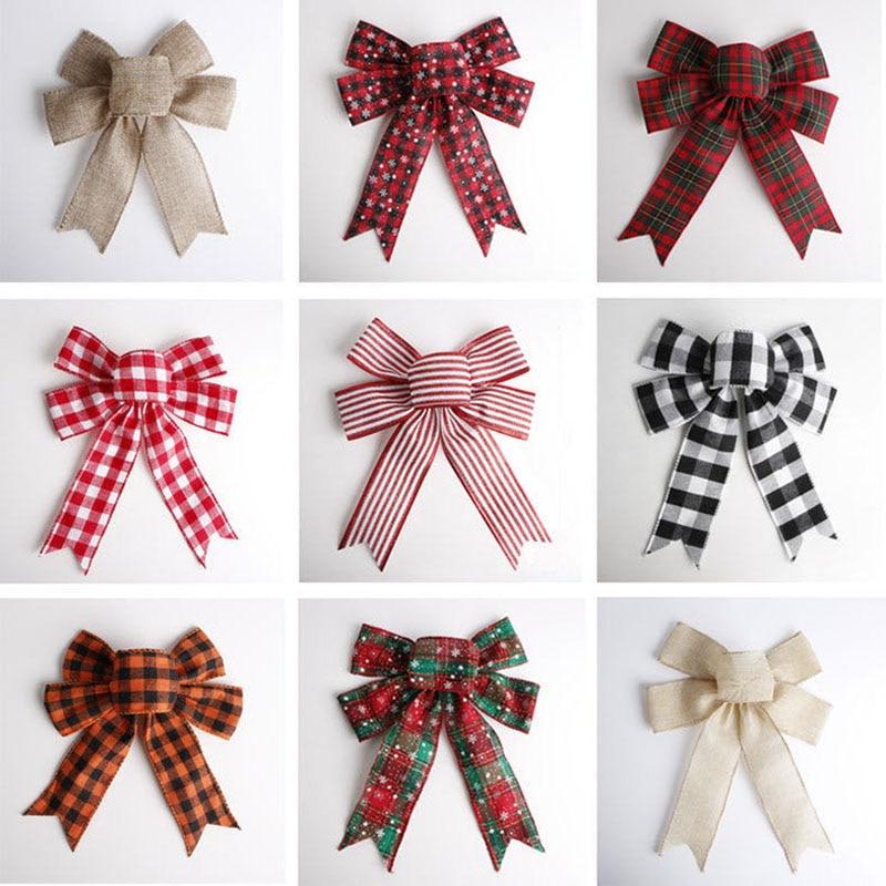 Рождественский бант Meng Xiaomao ручной работы, Подарочная коробка, украшения, Лидер продаж, льняной клетчатый снежинок в полоску, зеленый красны...