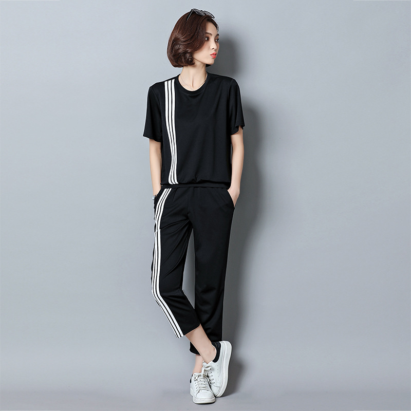 2019 Spring New Style Korean-style Large Size Dress Loose-Fit BF Fashion Capri Pants Sports Casual WOMEN'S Suit Two-Piece Set