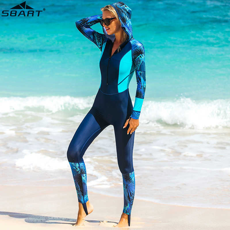 Lycra UPF 50 + Full Body Duiken Wetsuit One Piece Lange Mouwen Rash Guard met cap vrouwen Vintage Badmode Surfen pak anti-uv