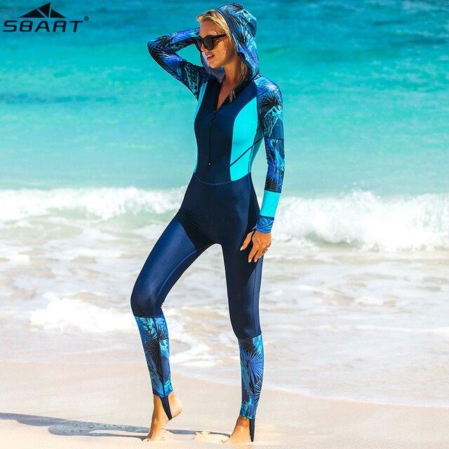Lycra UPF 50+ Full Body Diving Wetsuit One Piece Long Sleeve Rash Guard with cap women Vintage Swimwear Surfing Suit anti uv
