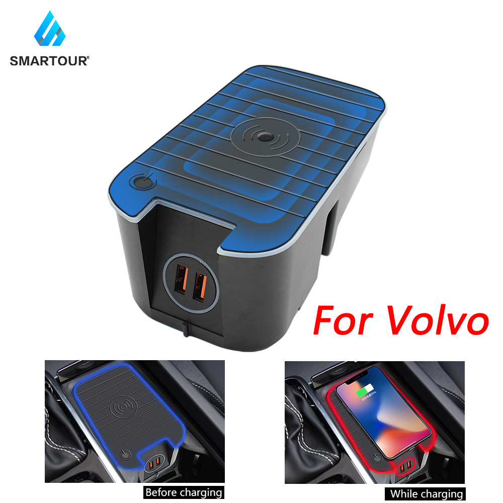 Smartour For Volvo XC90 S90 V90 XC60 V60 C60 S60 2020 10W Car QI Wireless Charging Phone Charger Charging Plate Accessories