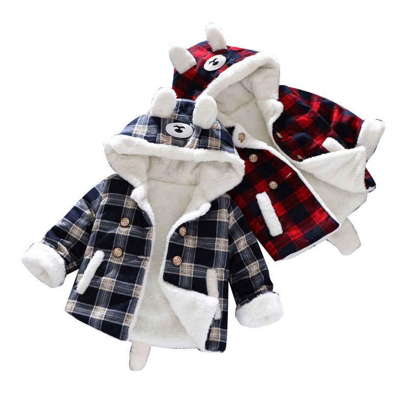 Детская зимняя одежда куртка с капюшоном для мальчиков, теплая верхняя одежда для маленьких девочек Детская куртка, пальто для малышей из плотного флиса, для малышей 70-130