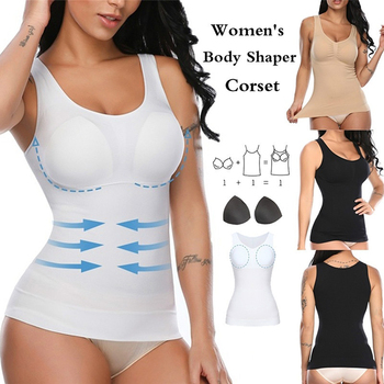 Women Shapewear Tops Cami with Built-in Bra Tummy Control Tank Top Smoothing Camisole Removable Pads Slimming Body Shaper 1