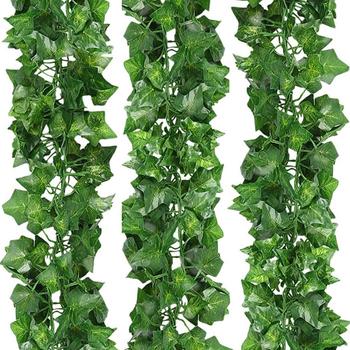12 sztuk imitacja bluszcz fałszywy winorośli girlanda ze sztucznych liści bluszczu wieniec kwiatów sztuczny zielony z nadrukiem roślinnym Creeper Rattan tanie i dobre opinie CN (pochodzenie) 12pcs Wiszące Z tworzywa sztucznego VINE