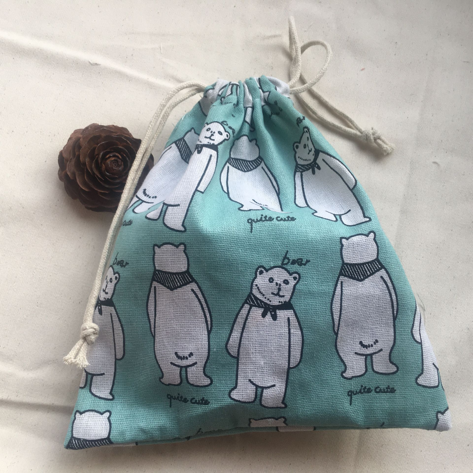 Cotton Linen Drawstring Pouch Multi-purpose Organized Bag Party Gift Bag Bear Green 12c