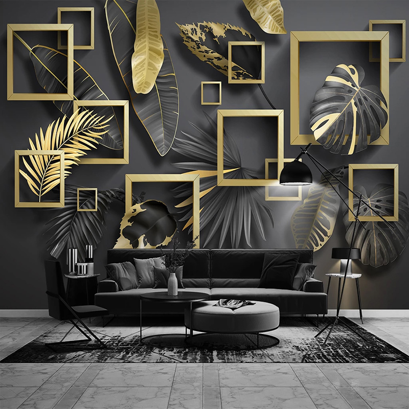 Custom Self-Adhesive Wallpaper Modern Simple Geometry Golden Leaves Tropical Plants Murals Living Room Bedroom Luxury Home Decor