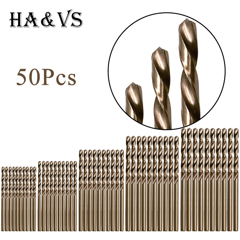50Pcs Metric 1 - 3mm M35 Cobalt Steel Extremely Heat Resistant Twist Drill Bits Set For Stainless Steel And Hard Metals