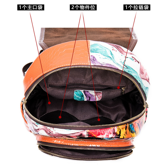 Multicolour Patchwork Bag Genuine Leather Backpack