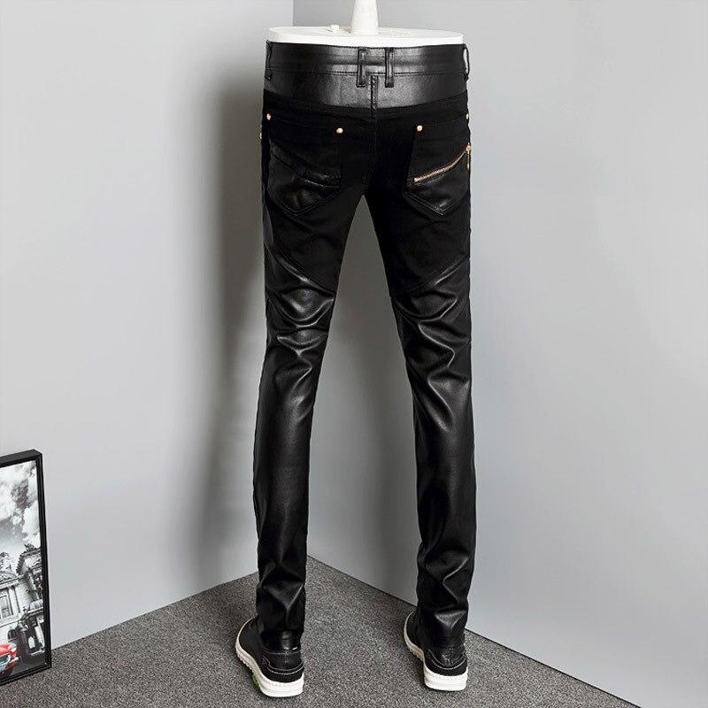 2020 New Fashion Splice Men Motorcycle Pants Korean Slim Fit PU Leather Trousers Streetwear Casual Zipper Pencil Pants Plus Size