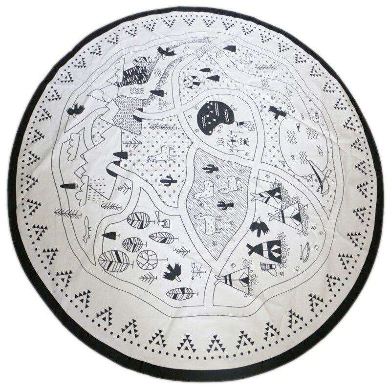 Baby Nursing Photo Props Blanket Floor Play Mat Animal Round Carpet Children's Crawling Play Mat Mug Diameter 135Cm Black&White