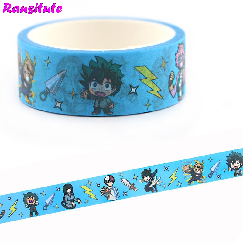 Ransitute My Hero AcademiaWashi Tape Traffic Tape Toy Car Decoration Hand Account Sticker Masking Decoration Tools R666
