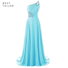 Sky Blue Prom Dresses 2019 One Shoulder Strap Full Length Be