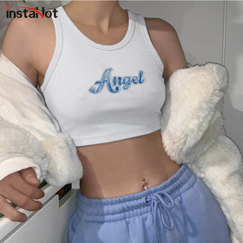 InstaHot letter embroidery tank top women crop top slom sleeveless cotton casual streetwear party tops 2020 summer tank цена 2017