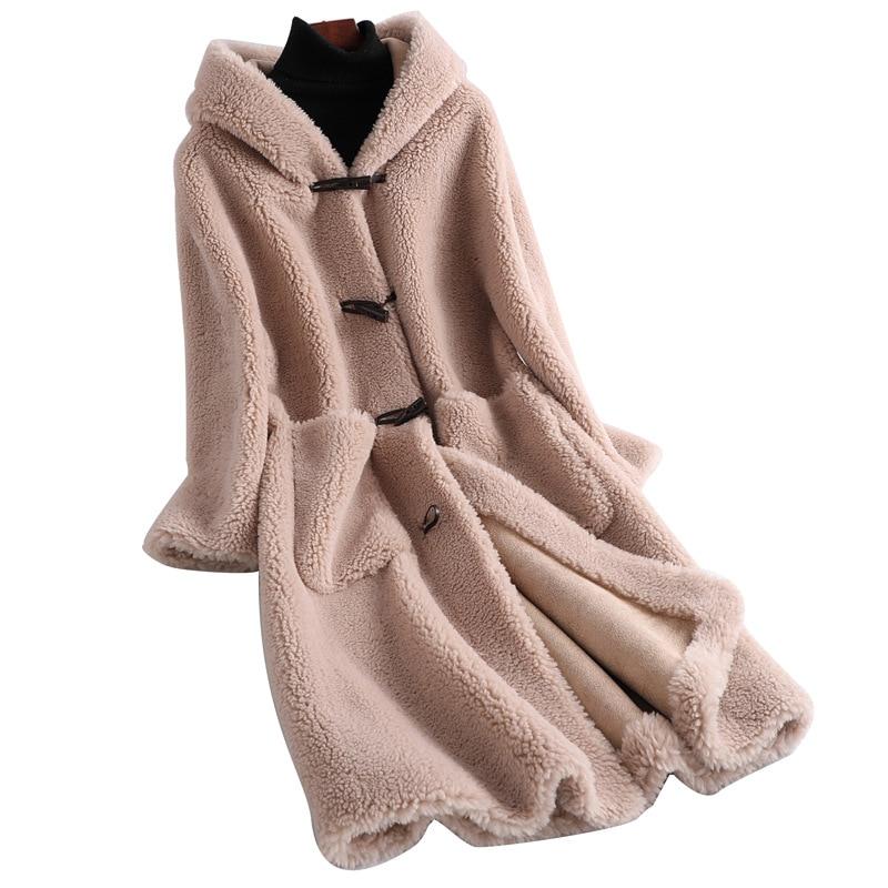 Real Fur Coat Wool Jacket Autumn Winter Coat Women Clothes 2019 Korean Vintage Streetwear Women Tops Sheep Shearling ZT3393
