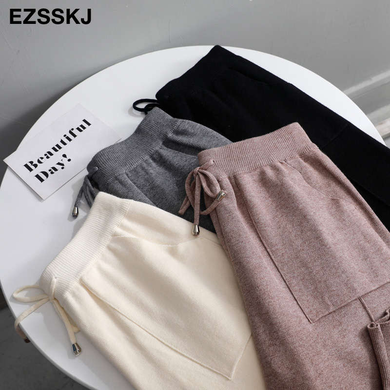 chic autumn winter Drawstring Harem Pants Women Loose Trousers female Knitted Pants knit Trousers With Pockets