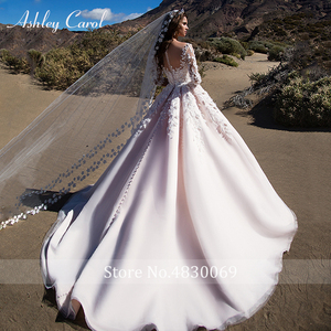 Image 2 - Ashley Carol Chữ A Áo Cưới 2020 Dài Tay Công Chúa Cô Dâu Đầm Lãng Mạn Muỗng 3D Chiếu Trúc Hạt Hoa Vintage Áo Dài Cô Dâu