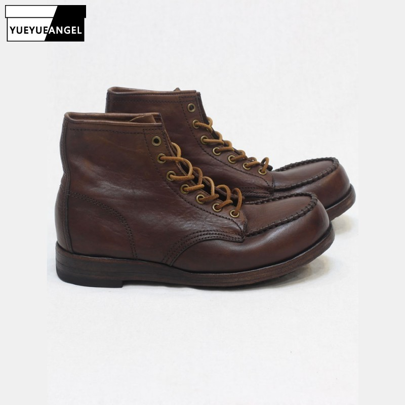 Cow Leather Men Boots Thick Sole Retro Lace Up Natural Leather Ankle Boots Autumn Winter Working Shoes Man Safety 38-44