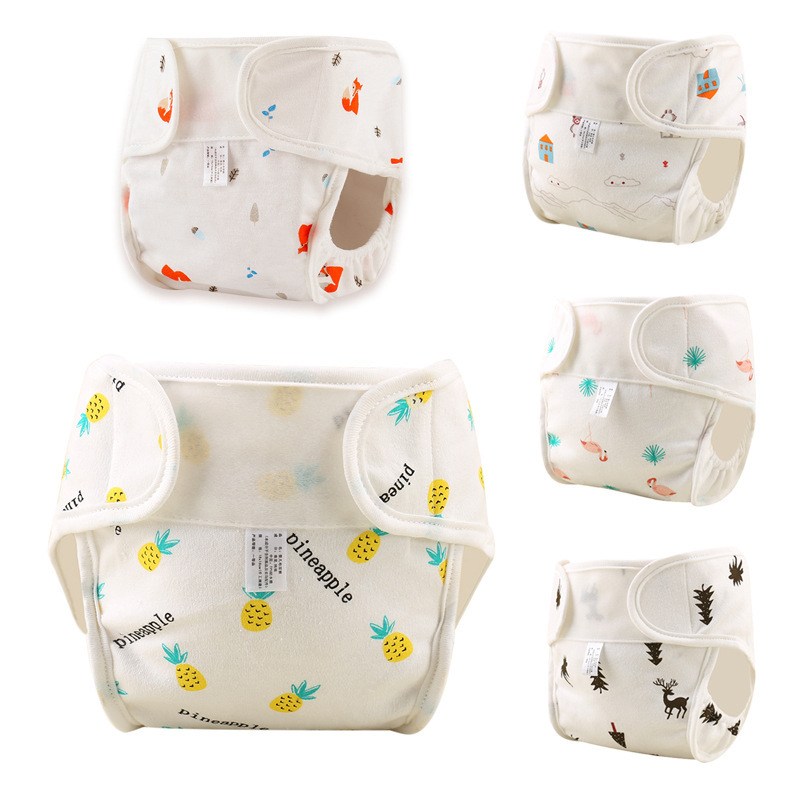 Baby Reusable Diapers Cotton Cloth Diapers Toddler Nappy Training Pants Adjustable Nappies Waterproof Child Eco-friendly Diapers