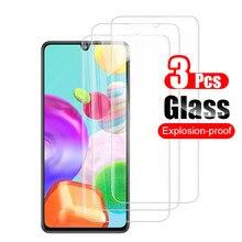 3 peças para samsung um 41 vidro de proteção para samsung galaxy a41 a32 a52 a72 a51 a11 a12 a21s película de protetores de tela de vidro