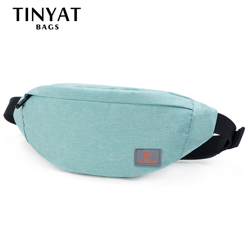 TINYAT Men Women Waist Pack Bag Casual Fanny Pack Canvas Belt Bag Girl Mobile Money Fanny Bag Belt Bags Blue