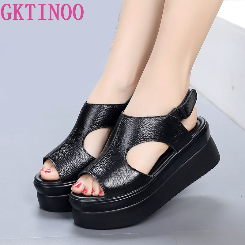 GKTINOO 2020 New Women Sandals Genuine Leather Summer Shoes Rome PlatformThick Bottomed Breathable Comfortable Women Sandals