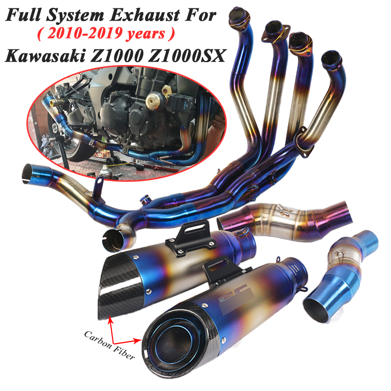 Full System Motorcycle GP Exhaust Escape For Kawasaki Z1000 Z1000SX 2010   2019 Modified Moto Front Mid Link Pipe Carbon Muffler|Exhaust & Exhaust Systems| |  - title=