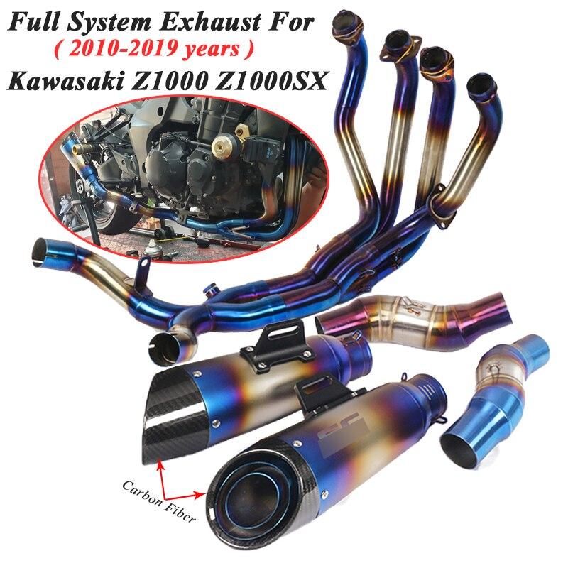 Système complet d'échappement Moto GP pour Kawasaki Z1000 Z1000SX 2010-2019 modifié Moto avant milieu lien tuyau silencieux en carbone