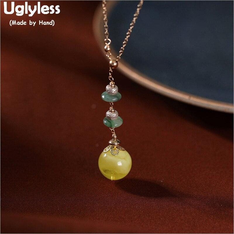 Uglyless 14K or pierres précieuses naturelles colliers pour femmes émeraude haricots ambre boules de cire d'abeille bijoux fins chaînes Anti-décoloration P743