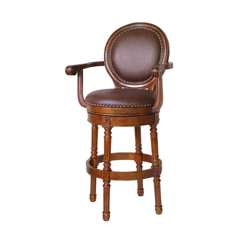 European Bar Chair, Solid Wood Bar Chair, Domestic American Bar Stool, Swivel Backrest, Leather High Stool, Bar Stool