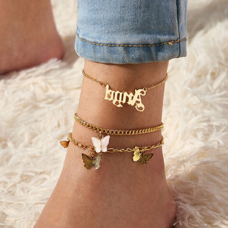 2020 Summer Beach Ankle Bracelet Girls Butterfly Angle Letter Alphabet Pink Pendant Alloy Multilayer Foot Jewelry For Womens