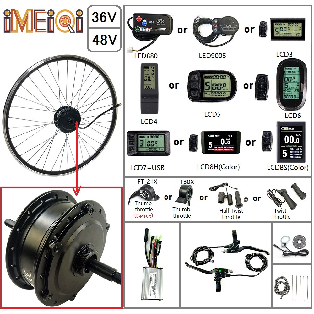 IMEIQI Electric Bicycle Kit 36/48V 250W Rear Rotate Hub Wheel Spoke <font><b>Motor</b></font> with Optional 16