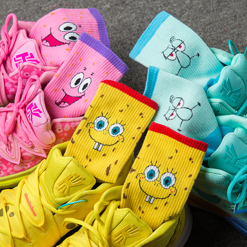 SP&CITY Ins Style SpongeBob Octopus 3 Pairs Of Socks Crab Boss Cartoon Cotton Socks Long Tube Fashion Comfot Breathable Sokken