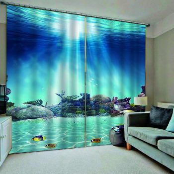 Ocean curtains Underwater blue curtains 3D Curtain Luxury Blackout Window Curtain Living Room  stereoscopic curtains