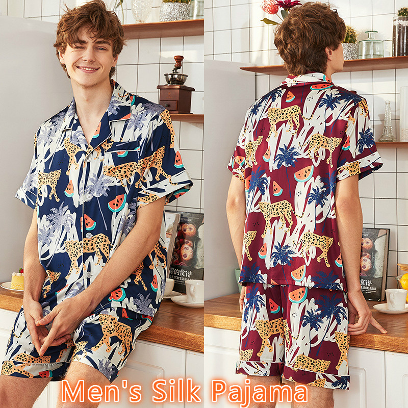 Men's Pajamas Classic Silk Pajamas For Men Summer Pijama Hombre Verano Leopard Elasticated Waist Short Sleeve Shorts Tracksuit