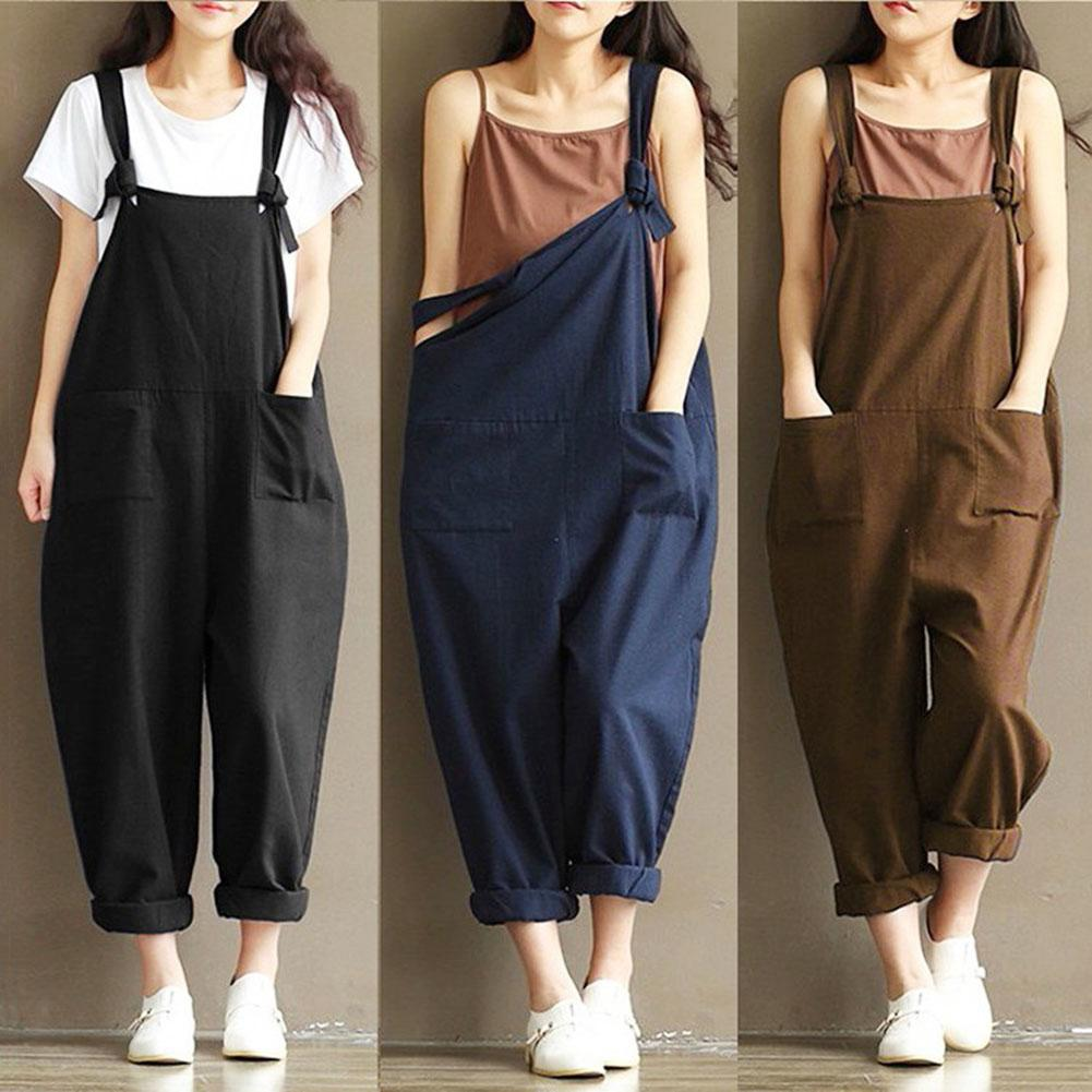 HOT Fashion Women Girls Loose Solid Jumpsuit Strap Harem Trousers Ladies Overall Pants Casual Playsuits Plus Size S-5XL
