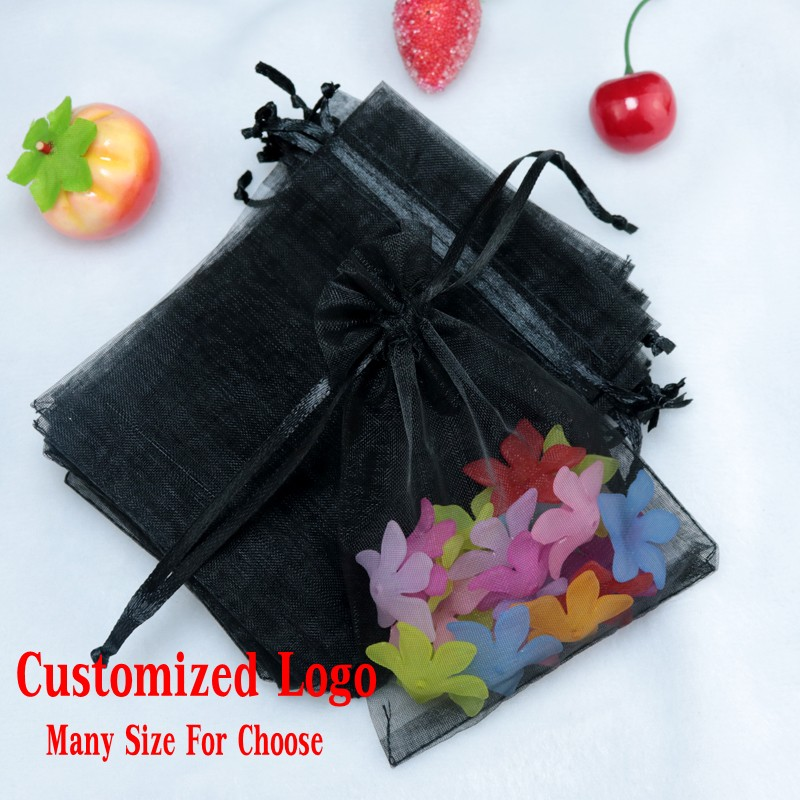 100pc/lot 5x7cm Black Color Mini Organza Gifts Bags Drawable Wedding Holiday Party Candy Packaging Jewelry Bags Storage Pouches