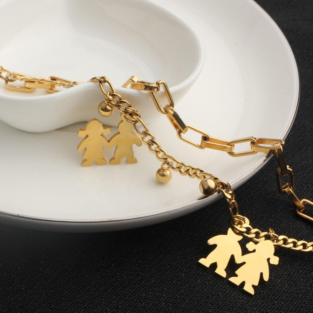 FINE4U B125 Stainless Steel Tree Owl Boy and Girl Charm Bracelet Double Layer Gold Figaro Chain Bracelets For Men Women