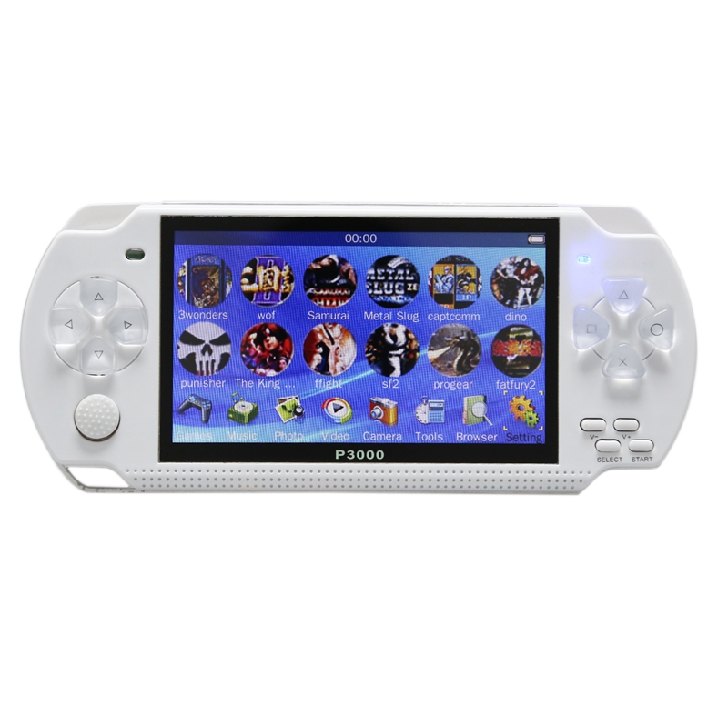 4.3inch Handheld Game Console 8GB Portable Video Game Built In 10000 Free Classic Games Support Mp3/4 US Plug (White)