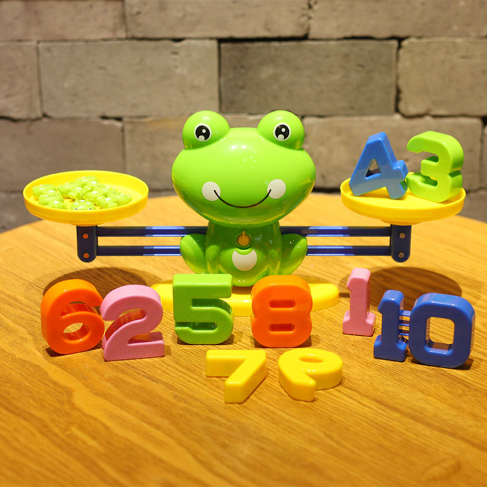 Cute Frog Balance Scale Math Game Toy Children Enlightenment Digital Addition And Subtraction Math Scales Puzzle Kids Toys