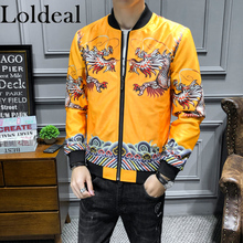 Loldeal Men Casual Embroidery Style Stand Streetwear Bomber Baseball Jacket Slim Fit Zip Up Premium Track Jackets недорого