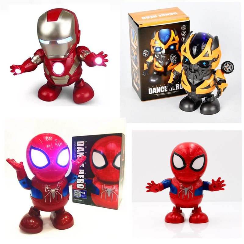 New Marvel Toys Dance Hero Iron Man Spiderman Thanos Action Figure Toy Led Flashlight Sound Iron Man Hero Electronic Gift Toy|Action & Toy Figures|   - AliExpress