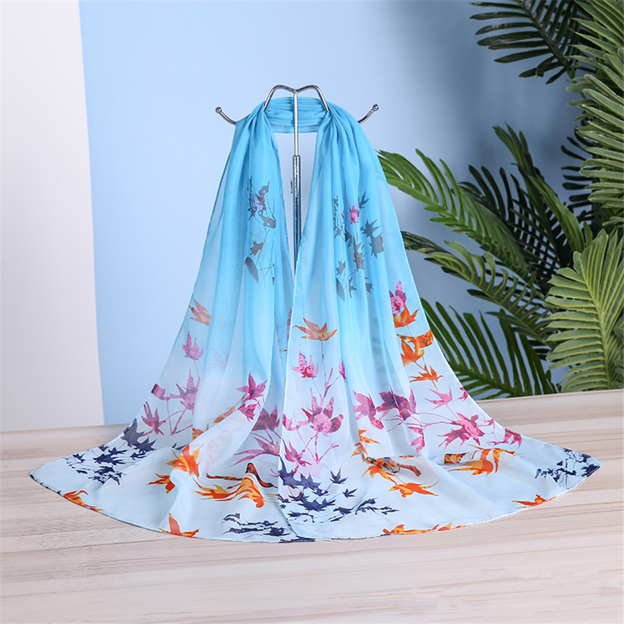 New Summer Chiffon Silk Scarf Women Flower Printing Thin Shawl And Wraps Female Fashion Gift Dual-purpose Hijab Stoles Scarves