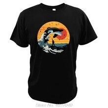 Camiseta retro do vintage da lua cheia da baleia do assassino t camisa da lua cheia de kanagawa surf orca willy seaworld
