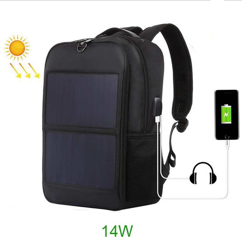Men's Waterproof Nylon Solar Rechargeable Backpack Travel Outdoor Sports Backpack Leisure Hiking Bag Capacity Solar Backpack