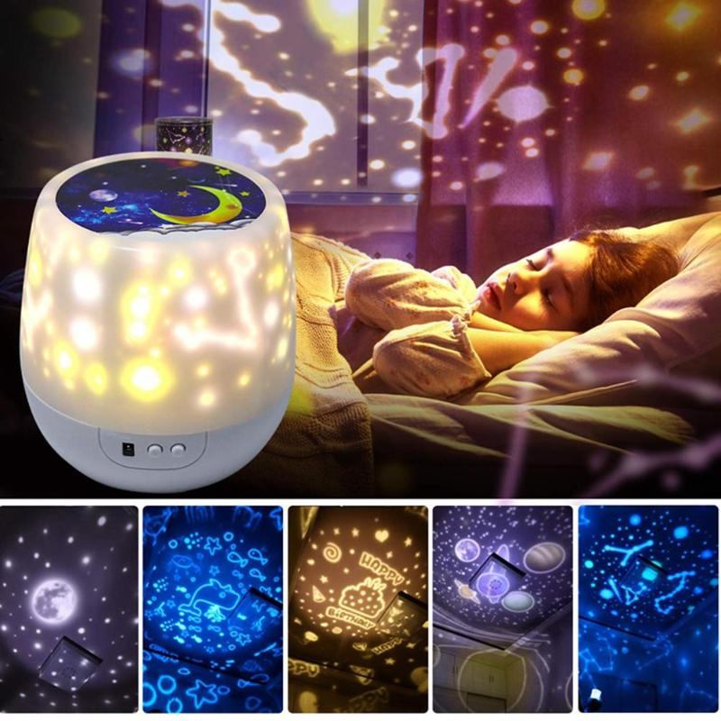 Rotating Projector Starry Sky Night Light Bedside Projector Lamp Christmas Decoration Home Children's Night Light Kid's Gift