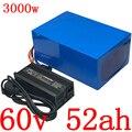 60V 2000W 3000W batterie 60V 50AH lithium-batterie pack 60V 50AH elektrische fahrrad batterie mit 60A BMS und 67 2 V ladegerät duty freies
