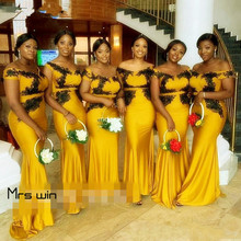Mrs win Bridesmaid Dresses For Girls Elegant Off Shoulder Wedding Guest Dress Plus Size Long Boat Neck Vestido Madrinha  HR081