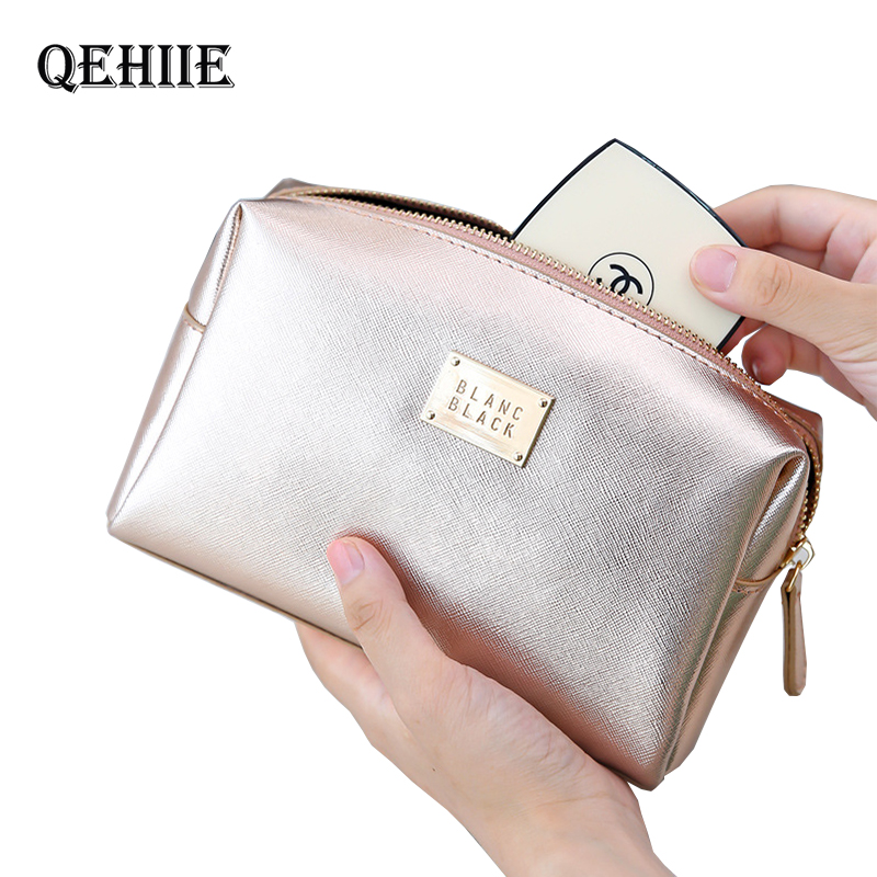 Cosmetic-Bag Case Toiletry Travel-Organizer Beauty Silver Portable Women Ladies for Makeup-Pouch